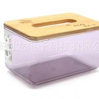 简约客厅抽纸盒木盖车用纸巾盒透明塑料纸巾盒原木抽纸盒定制