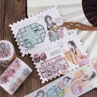 来图定制特油烫金中国古风人物少女、朴素古典窗格DIY装饰胶带