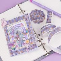 来图定制烫金珠光磨砂一帘幽梦蕾丝花边窗帘子DIY装饰和纸胶带
