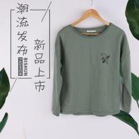 2018夏季新款韩版修身圆领印花长袖女t恤 厂家直销