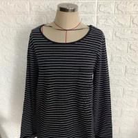 厂家直销 专业制造 宽松版长袖条纹T恤女
